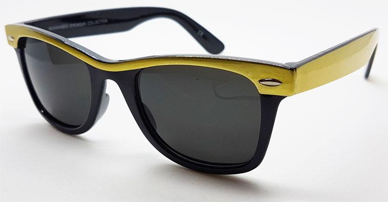 b0c870e2ea9f Fede sorte Wayfarer solbriller med farvede stænger og stribe - Køb Engros